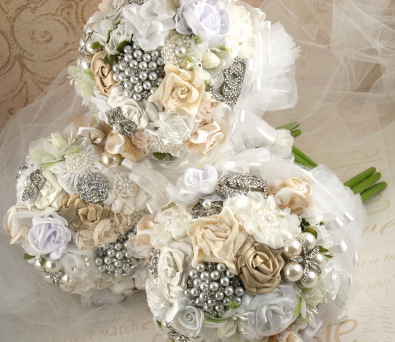 Bridal Bouquets With Vintage Brooches : Vintage brooch bouquets for the bm s and a button bouquet