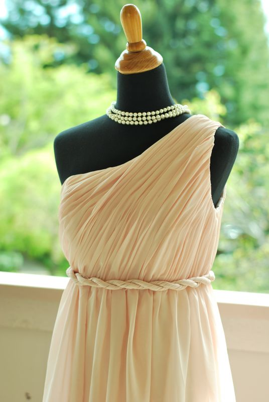 my Grecian look Blush pink dress :  wedding bridesmaids ceremony dress pink 525