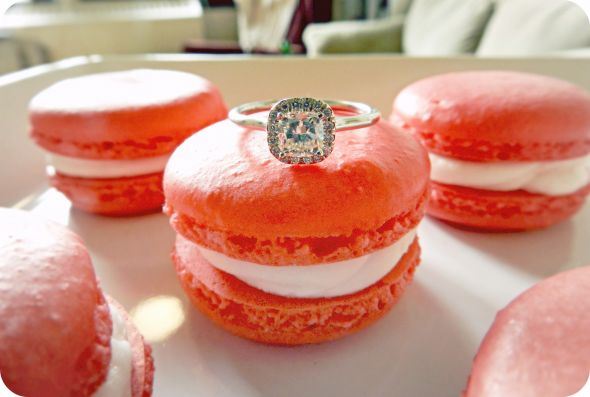 My New Gem :  wedding cushion cut diamond ring engagement ring macarons pave setting RingMacaron