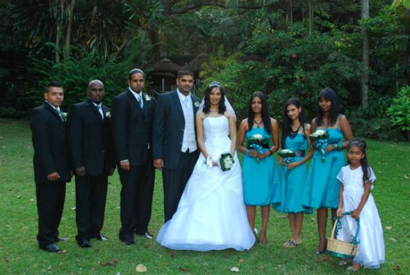 bridal party :  wedding best men black blue bouquet bride brides maid bridesmaids ceremony dress flower girl flowers gown green hair teal white Bridal Party