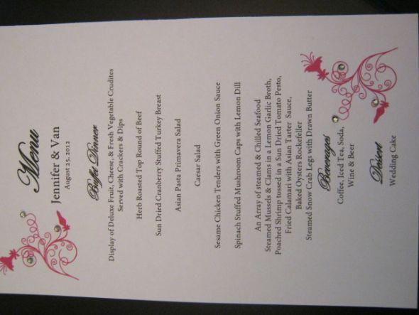Menu Cards For Buffet Weddingbee Photo Gallery