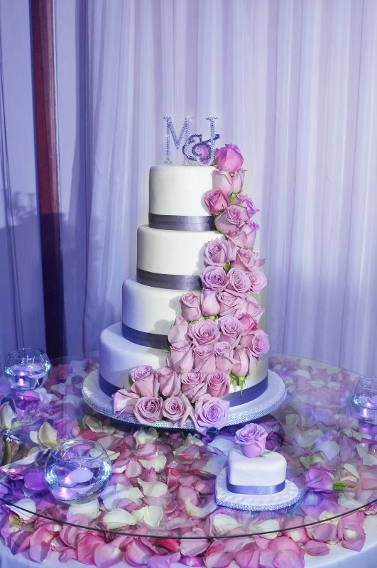 my wedding cake/ cake topper :  wedding cake cake topper purple roses white Cakemarcela