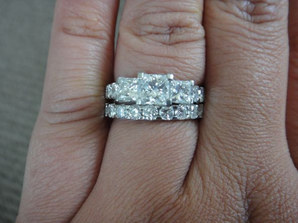 cut set princess wedding band match engagement three for ring and rings bands stone