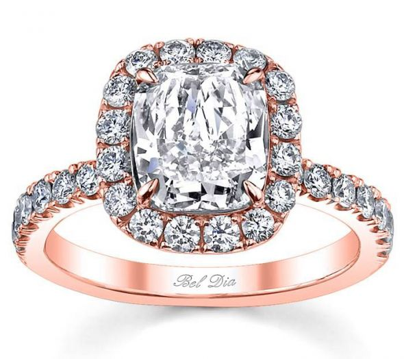 cushion cut rose gold diamond halo engagement ring Homepage
