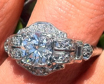 Art Deco Vintage Engagement Ring Advice on Wedding Band