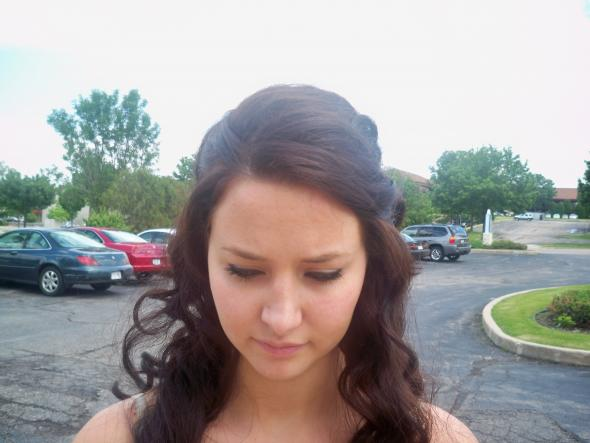 Photo of half down prom hairstyle with soft curls and tiara. My Half-up