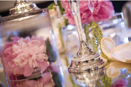 My Candelabra and Candlestick Holders with Hanging Crystals Centerpieces