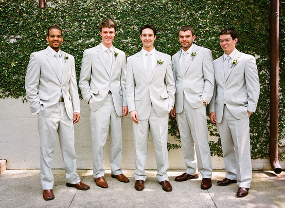 We bought our groomsmen suits! :  wedding brown shoes celadon green green groomsmen inspiration jos a bank oyster suits silver suits Oyster Suits