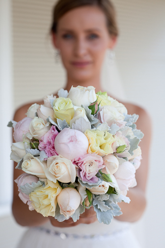 my bouquet :  wedding bouquet dusty miller green ivory pastel pink roses vintage white yellow Color 368