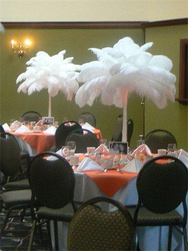 Ostrich feather centerpieces weddingbee