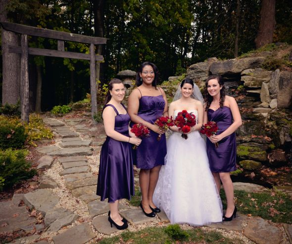 Our outdoor fall castle wedding! (Photo heavy) :  wedding autumn bridesmaids castle ceremony dress flowers inspiration makeup ohio outdoor purple red 058