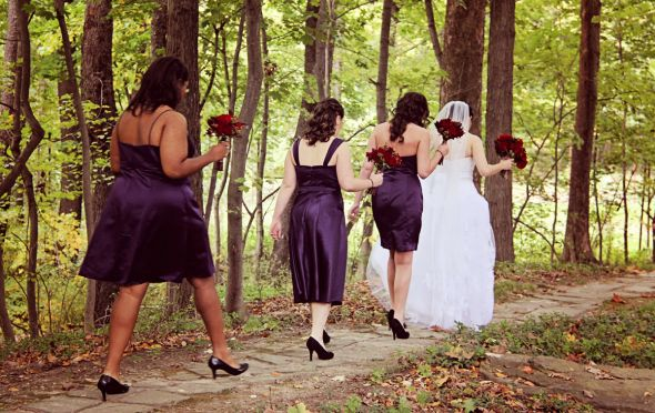 Our outdoor fall castle wedding! (Photo heavy) :  wedding autumn bridesmaids castle ceremony dress flowers inspiration makeup ohio outdoor purple red 059
