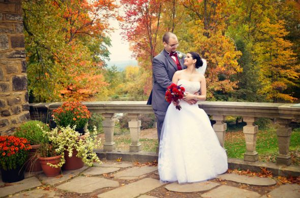 Our outdoor fall castle wedding! (Photo heavy) :  wedding autumn bridesmaids castle ceremony dress flowers inspiration makeup ohio outdoor purple red 118