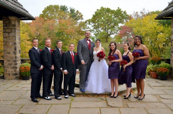 Our outdoor fall castle wedding! (Photo heavy) :  wedding autumn bridesmaids castle ceremony dress flowers inspiration makeup ohio outdoor purple red 126