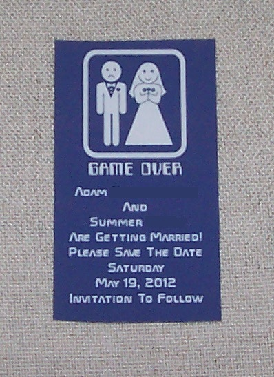 Game Over Save the Date DIY Magnet