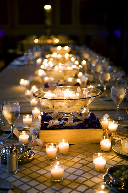 Memorable wedding reception candle centerpieces