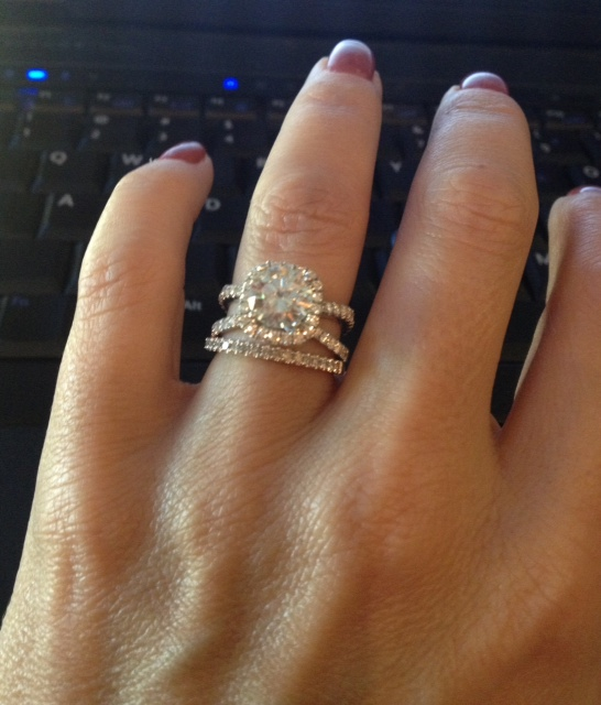 The gallery for gt split shank halo engagement rings with for Split shank engagement ring with wedding band