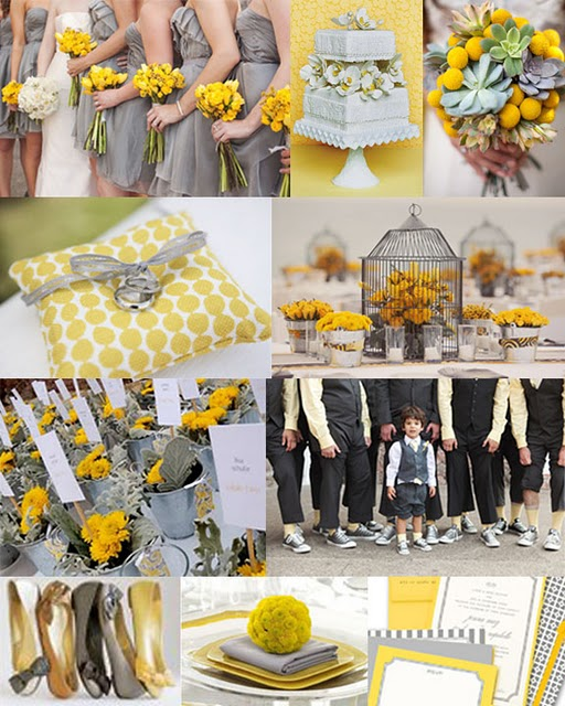 Yellow grey wedding reception decorations book covers