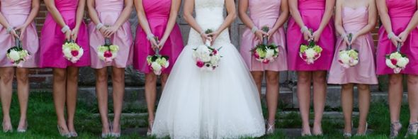 Bridesmaid Dresses Alternating Pinks