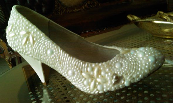 Pearl DIY wedding shoes