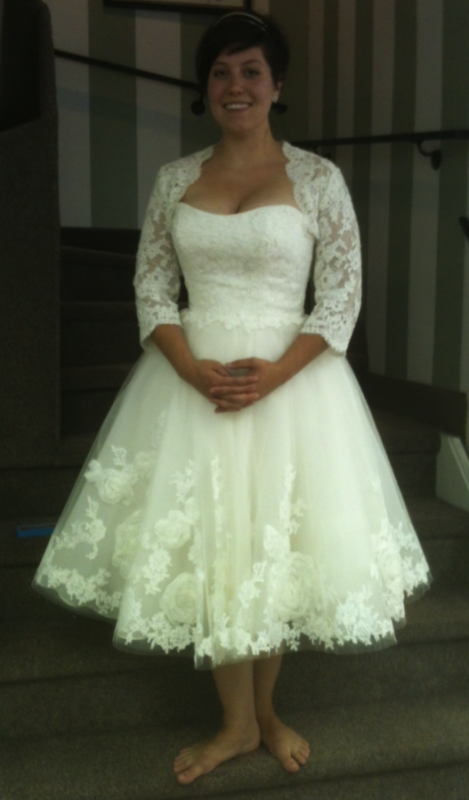 In love with lace sleeves weddingbee for Edric woo wedding dresses