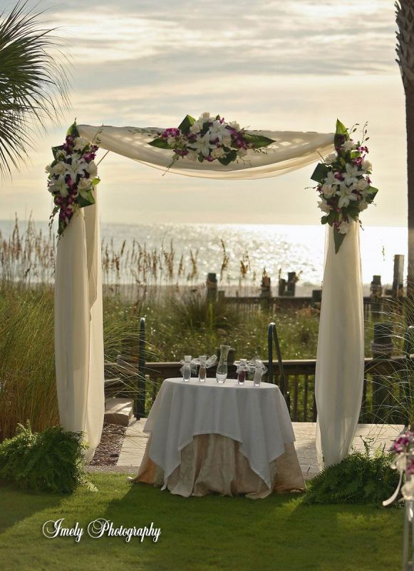 Ceremony arbor and fabric help and im hoping to drape it with either chiffon or organza like in this pic below and maybe decorate it with a few flowers who knows junglespirit Image collections