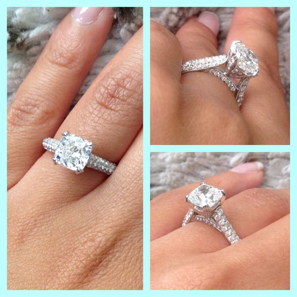 My cushion cut, micro pave engagemen
