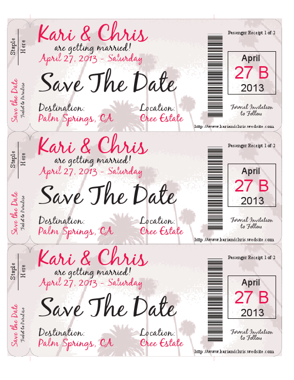 SAVE THE DATE - BOARDING PASS THEME