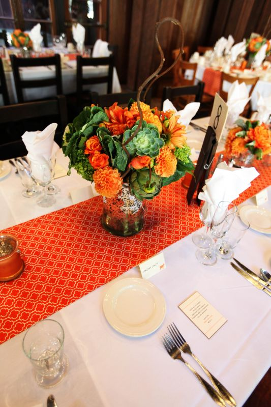 autumn orange modern wedding