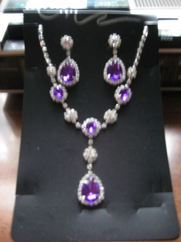 Purple & White Bridal Jewelry &a
