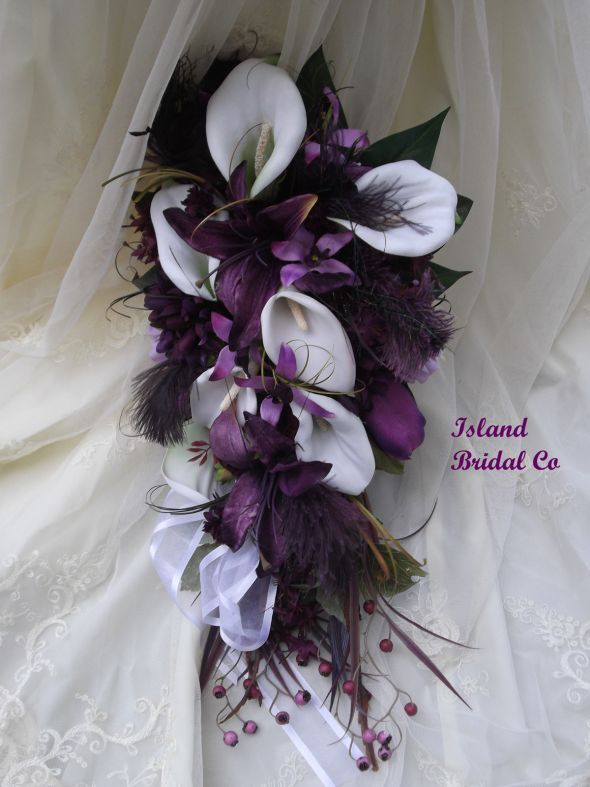 Cala Lilly And Plum Silk Wedding Flowers For Sale After 01 20 13