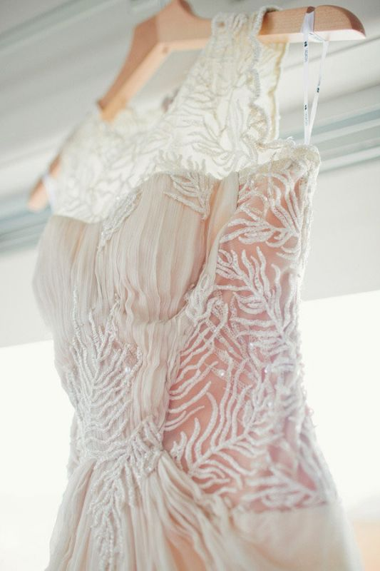 Vintage - Runway - Lace and Chiffon - Illusion neck and back Tadashi Shoji dress :  wedding ceremony dress inspiration ivory reception Ibb 1332280104.6015.2538