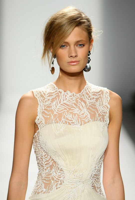 Vintage - Runway - Lace and Chiffon - Illusion neck and back Tadashi Shoji dress :  wedding ceremony dress inspiration ivory reception Photo 2