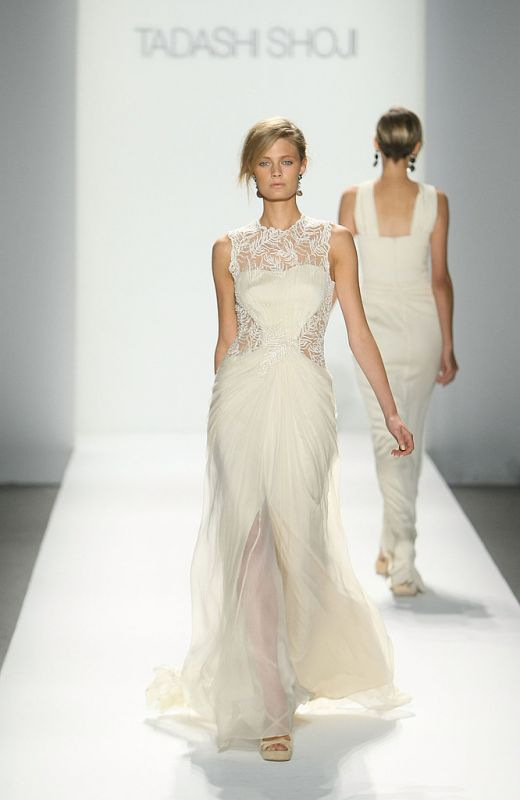 Vintage - Runway - Lace and Chiffon - Illusion neck and back Tadashi Shoji dress :  wedding ceremony dress inspiration ivory reception Photo 3