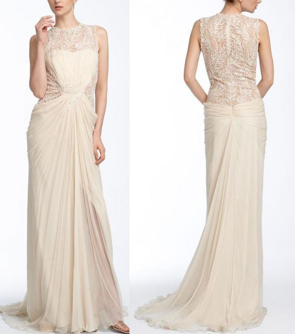 Vintage - Runway - Lace and Chiffon - Illusion neck and back Tadashi Shoji dress :  wedding ceremony dress inspiration ivory reception Tadashi Shoji Lace   Chiffon Gown Wedding Dresses 26401 View0