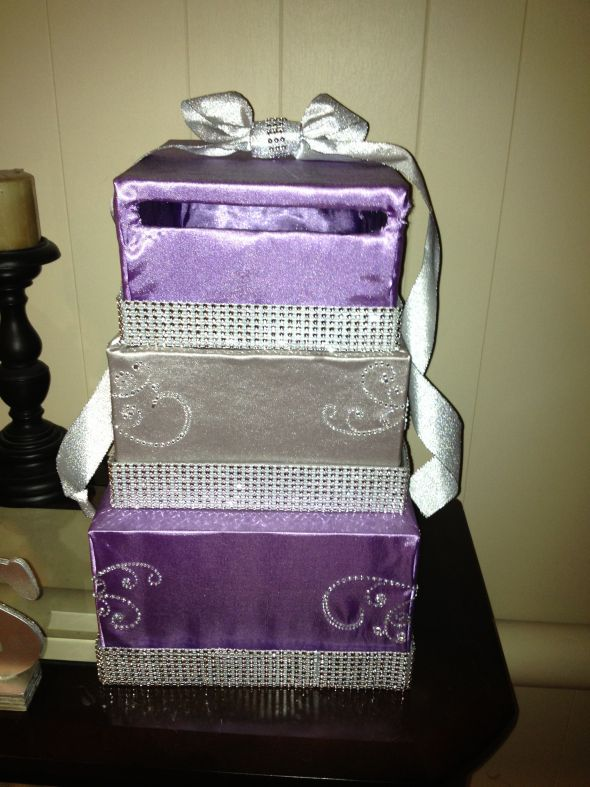DIY card box revised, Purple and Silver with some bling