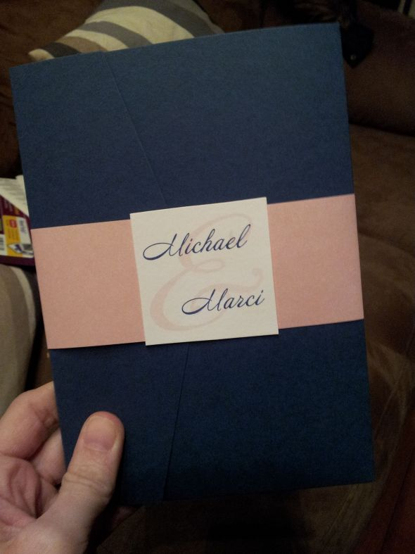 Semi DIY pocket invitations Navy,Pink!