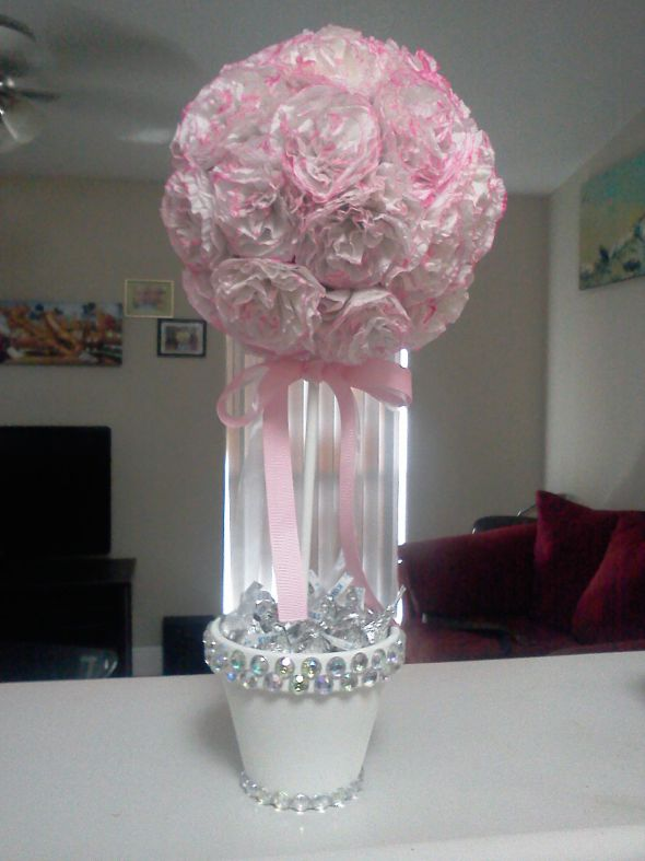 DIY Pink and white topiary tree for my wedding centerpiece Diy Wedding Centerpieces Pink