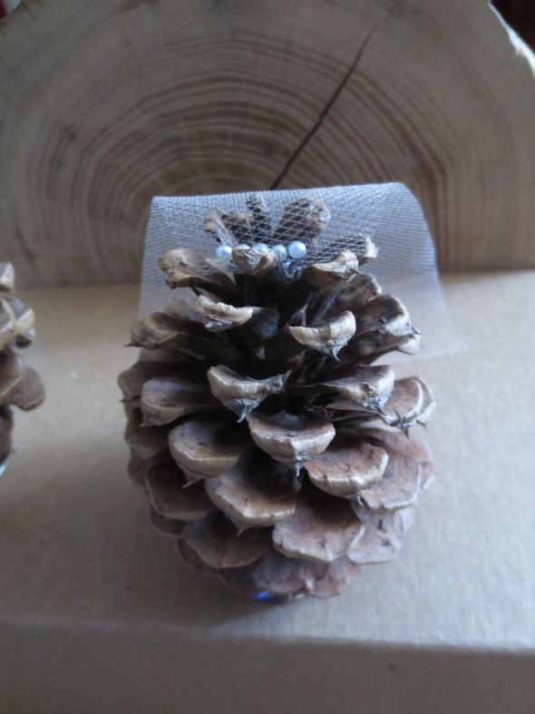 Pinecone Cake Topper :  wedding cake cake topper pinecones rustic IMG 3625