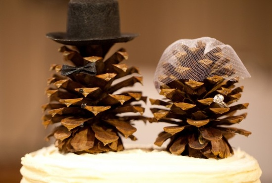 Pinecone Cake Topper :  wedding cake cake topper pinecones rustic Pinecones
