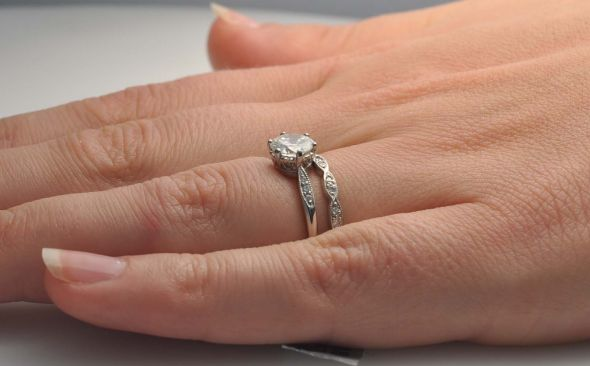 Engagement ring on its own or full eringwedding band set should shine