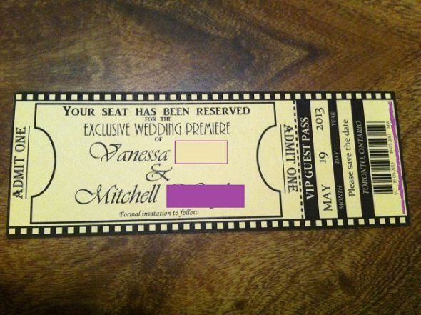 Movie Ticket Invitation Template - Save the date ticket template