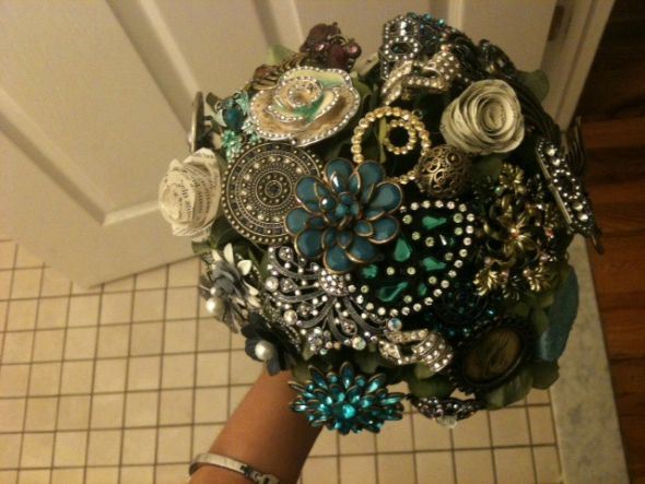 Brooch and Paper Bouquets