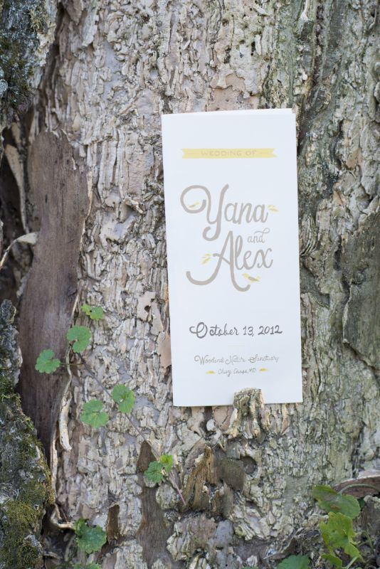 Woodsy wedding programs with silhoue