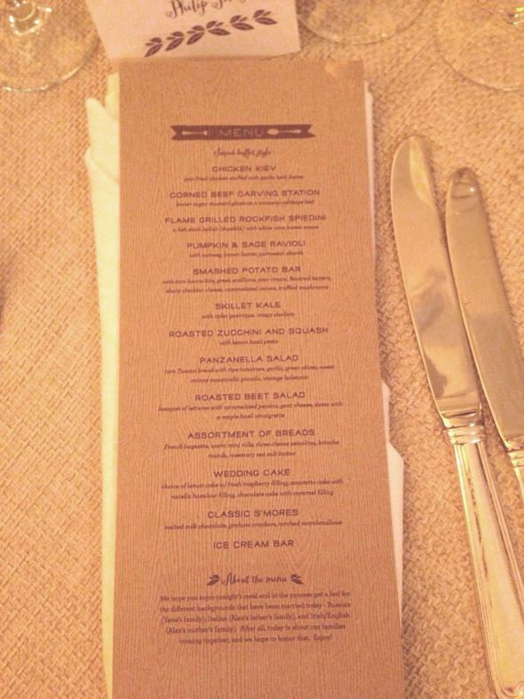 Woodsy wedding menu