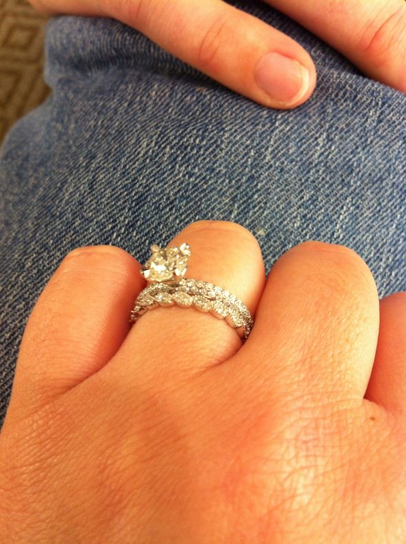 wider wedding band than engagement ring band weddingbee