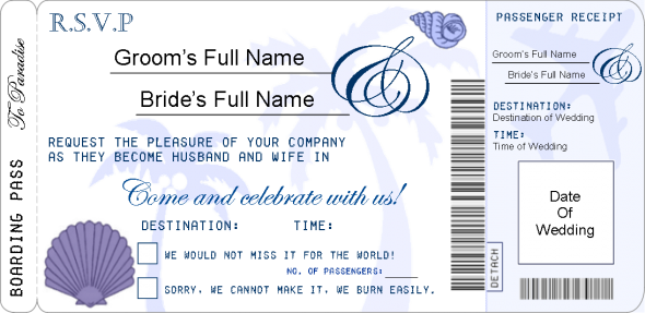 My finalised Boarding Pass RSVP Template