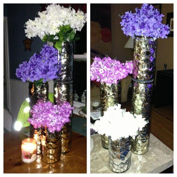 Purple gold centerpiece idea weddingbee