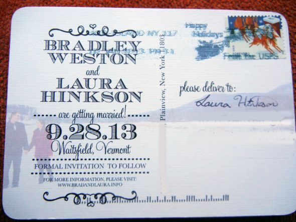 our save the date postcards before and after mailing pic heavy