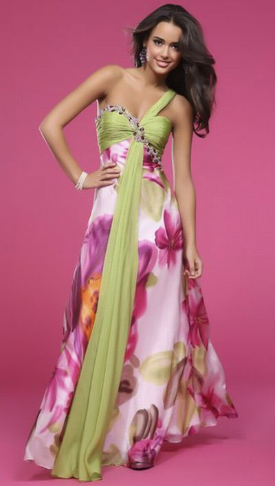 Floral or Pink Green Bridesmaid Dresses for Spring Wedding